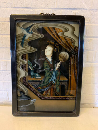 Vintage Antique Chinese Export Reverse Glass Painting Woman w/ Fan & Bird
