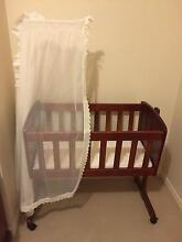 Wooden Cradle with Mattress, Bedding and Fly Net Murray Bridge Murray Bridge Area Preview