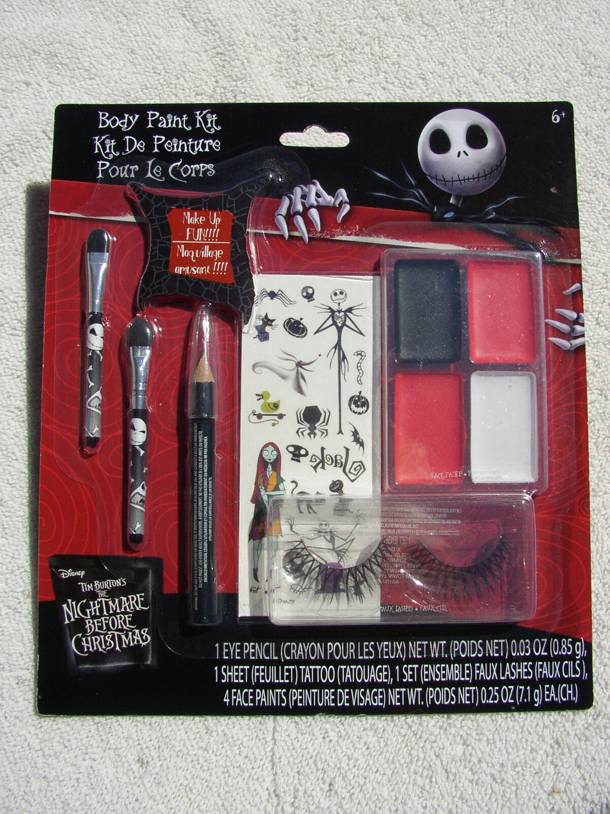 NIGHTMARE BEFORE CHRISTMAS BODY PAINT KIT + TATTOO SHEET FAUX LASHES ...
