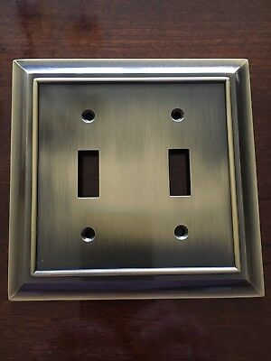 BRAINERD ARCHITECTURAL DOUBLE SWITCH TOGGLE WALL PLATE ANTIQUE BRONZE  FREE SHIP
