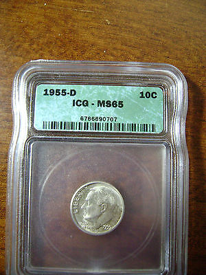 1955 D 10C ROOSEVELT SILVER DIME ICG GRADED MS 65
