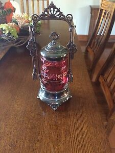 Antique Cranberry Pickle Castor
