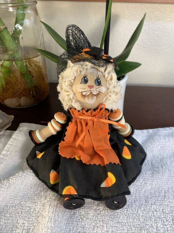 Vintage Halloween Witch Cat Wood Buttons RARE VG+