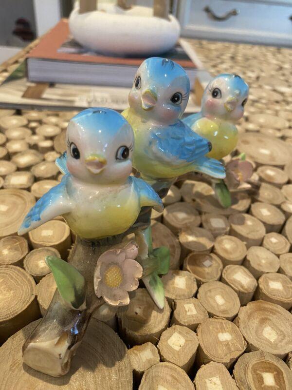 Vintage Lefton (Bluebird) Birds Branch Blue Birds