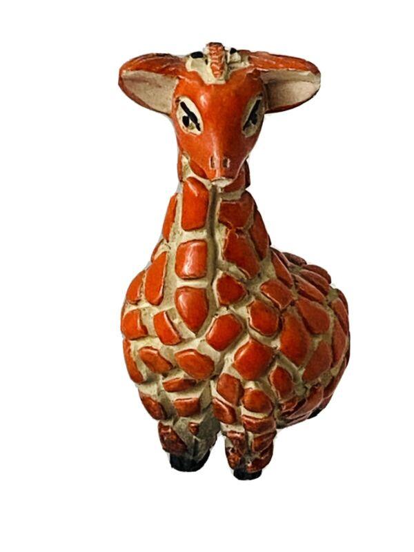"Textured Giraffe Figurine Figure / Orange / Beige / Black 4"" tall"