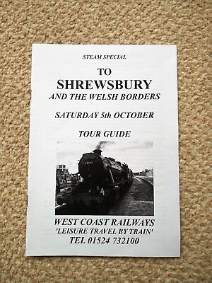 CHARTER TRAIN STEAM SPECIAL TO SHREWSBURY 05TH OCTOBER 2013 TOUR GUIDE