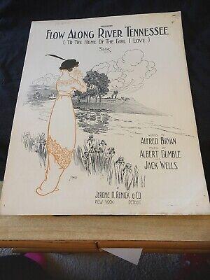 Vintage Sheet Music - Flow Along River Tennessee, Alfred Bryan 1913 - Flow Sheet Music