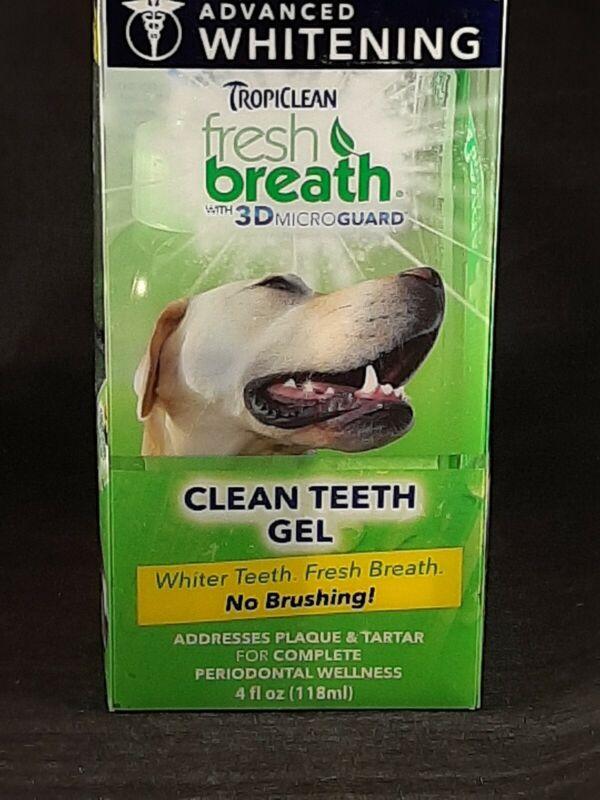 TropiClean Fresh Breath 3DMicroGuard Dog Advanced Whitening Teeth Gel Kit 4 oz