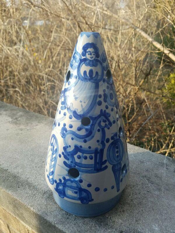 "RARE MA Hadley Pottery Christmas Tree Candle Shade blue 10"" high stoneware"