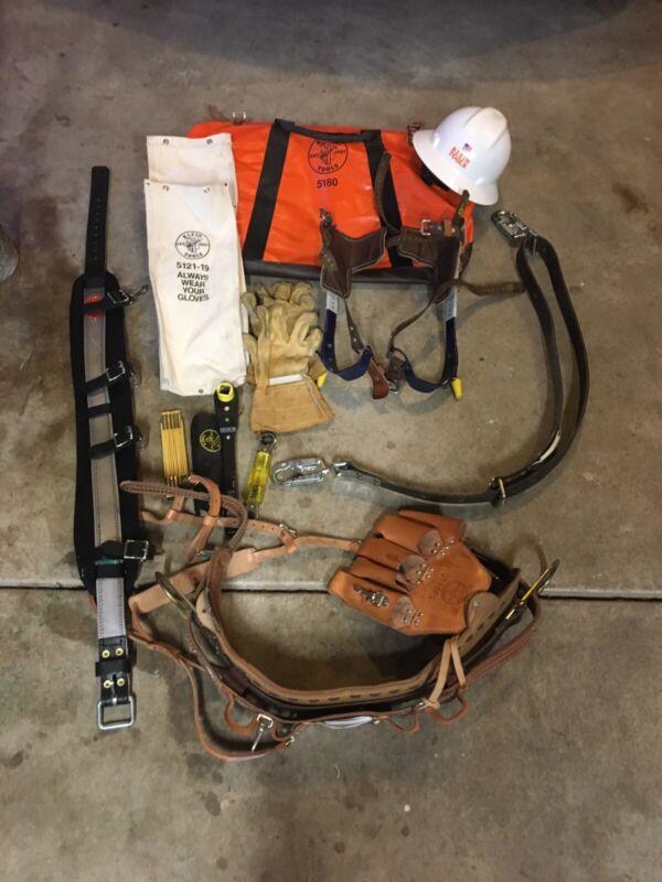klein lineman Set, belt, Hat, Gloves, tools, bag, leg spikes, Pole Belt