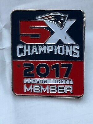 Official 2017 New England Patriots Season Ticket Member 5X Champions Lapel Pin