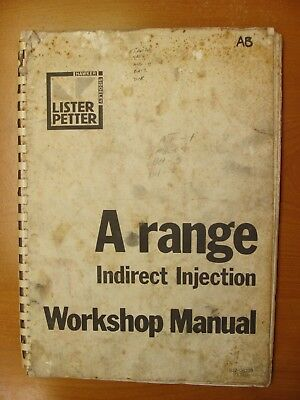 Petter A Range Indirect Injection Air Water Cooled Diesel Engines Manual