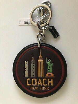 Coach Silver Charm - Coach Black Silver Bag Charm Key Ring Chain FOB F32687 New York Skyline Leather