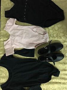 Girls tap shoes and dance body suits