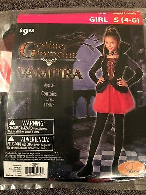 Halloween Costume Girl Gothic Glamour Vampira Small 4-6 - Glamour Girl Halloween Costume