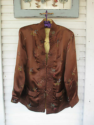 Georgous Reversable Asian Jacket-Brown & Gold Satin- High Quality New SALE S/M