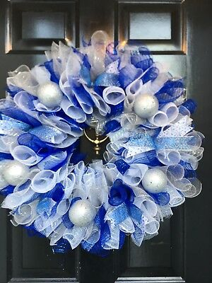 Christmas Collection Garland Large Wreath Blue Silver White Bows Mesh Holiday ()