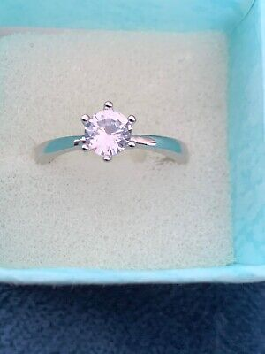 Cubic Zirconia Stunning Solitaire Ring Size R 925 Sterling Silver