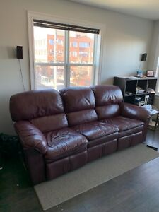 Dark Red Leather Reclining Sofa