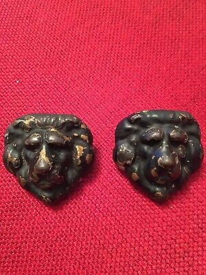 Pair Of Victorian Bronze Lion Heads, Likely From A Barrel Or Chest