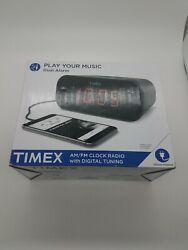 Timex AM/FM Dual Alarm Clock Radio with Digital Tuning (Gunmetal ) T231GRY NIB