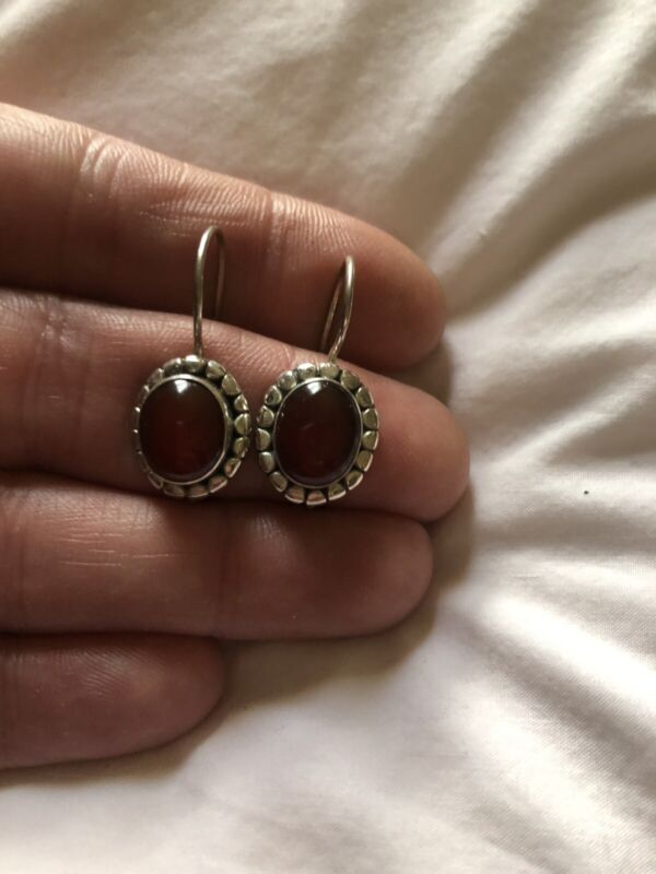 Vintage Red Coral Sterling Oval Shaped Pierced Earrings