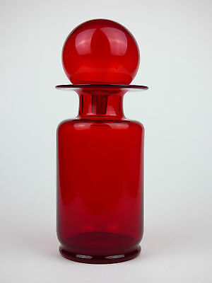 Red glass bottle vase with original stopper Italy Empoli Murano 60s 70s