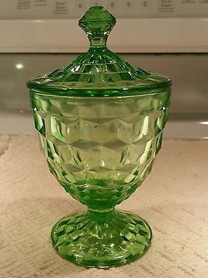 JEANNETTE Vaseline Green Depression CUBIST / CUBE FOOTED CANDY DISH W/LID