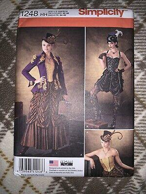 Simplicity 1248 Costume Pattern Cosplay Steampunk Jacket Bustier Skirt Sz 6 - 12