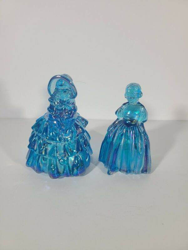 Wheaton Blue Carnival Glass Southern Belle Girl Figures (Both)