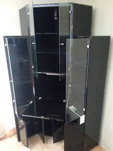 Three piece black lacquer display cabinet Ashmore Gold Coast City Preview