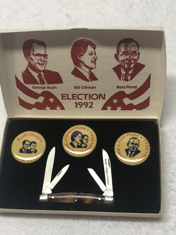 Vintage Bush/Quayle-Clinton/Gore- Ross Perot 1992 Election Button And Small 4 Bl