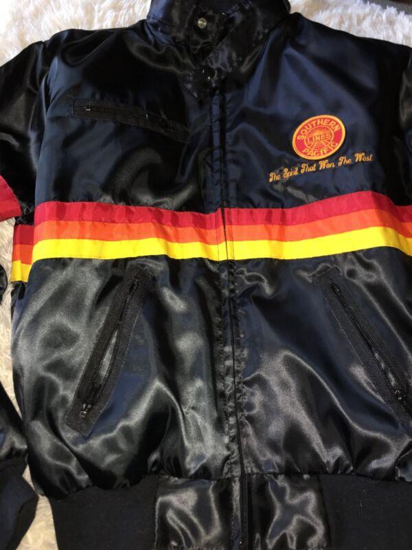 "Southern Pacific Railway Lines Vintage Satin Jacket Mens M ""the Spirit That Won"