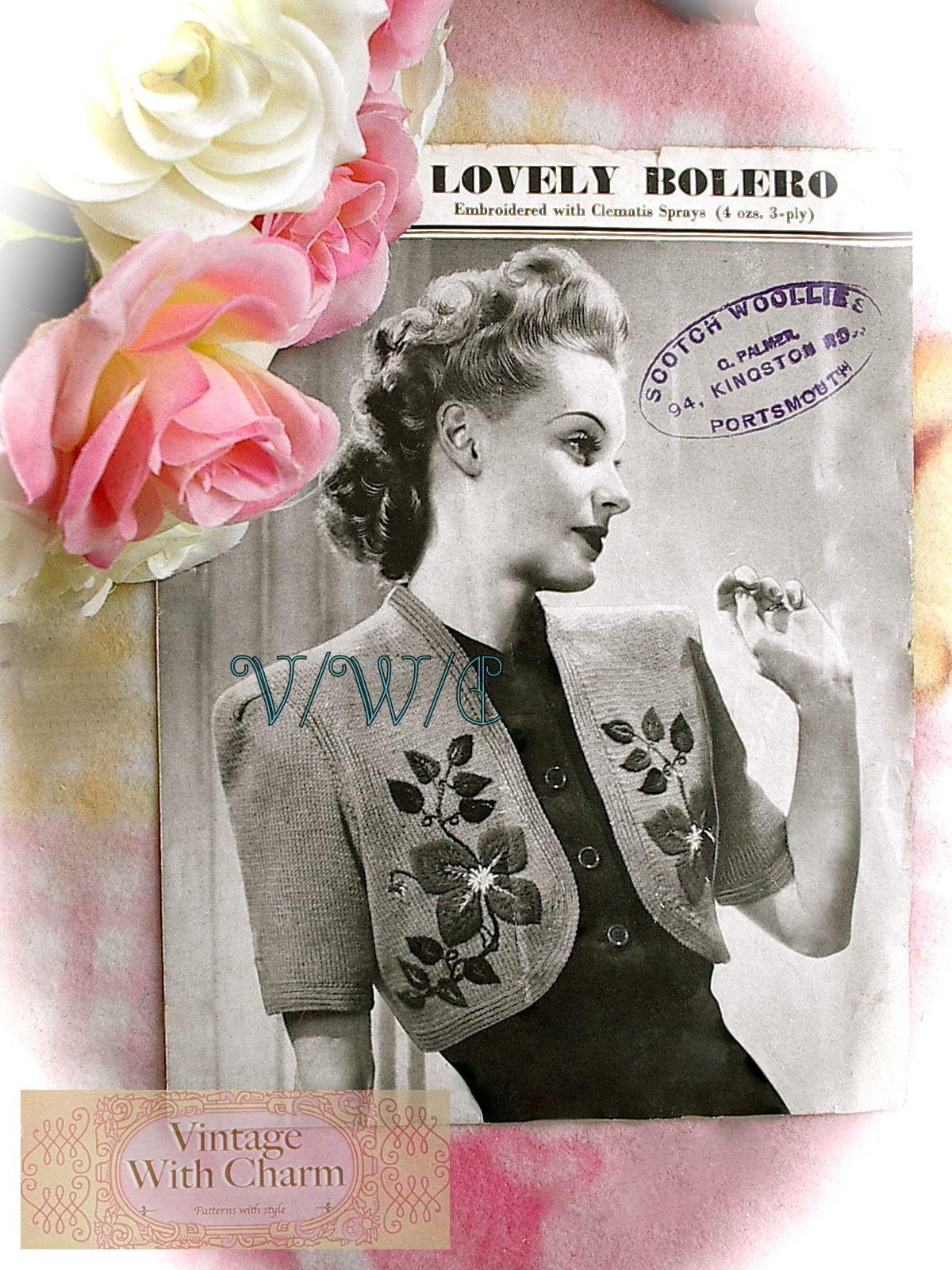 Vintage Knitting Pattern//Instructions 1940s Lady/'s Short Jacket//Coat .3Ply Wool.