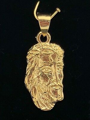 Gold Jesus Christ Charm (14k Yellow Gold Jesus Piece Jesus Christ Face Pendant Religious Charm 2)
