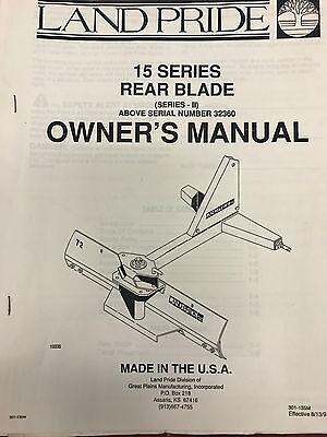 Land Pride Operators Manual 15 Series Rear Blade Sn 323660- 301-135mused