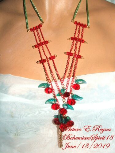 Arturo E.Reyna RED CHERRIES CHARMS Czech Glass beads HANDCRAFTED Necklace