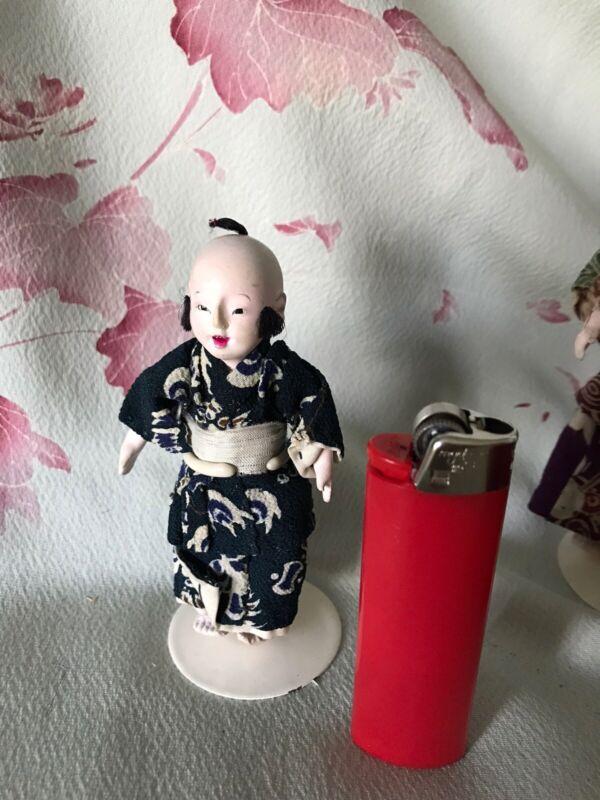"MINI 3""ANTIQUE BOY ICHIMATSU DOLL* JAPAN, HI SHEEN GOFUN*QUALITY KIMONO/DOLL*EXC"