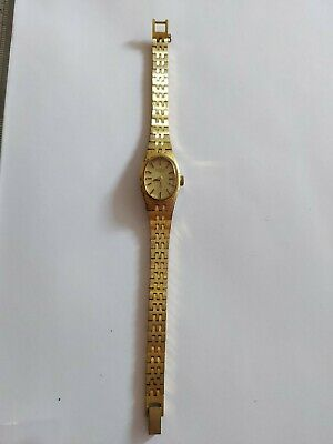 Vintage Gold Tone Rotary Watch Womens Mechanical Wind Up