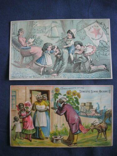 Victorian Trade Card Domestic sewing Machine FAMILY Black Americana Salesman G