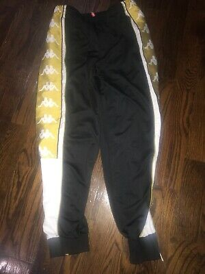 Excellent Used Kappa Track Pants Joggers Black/Gold Men's Size Large