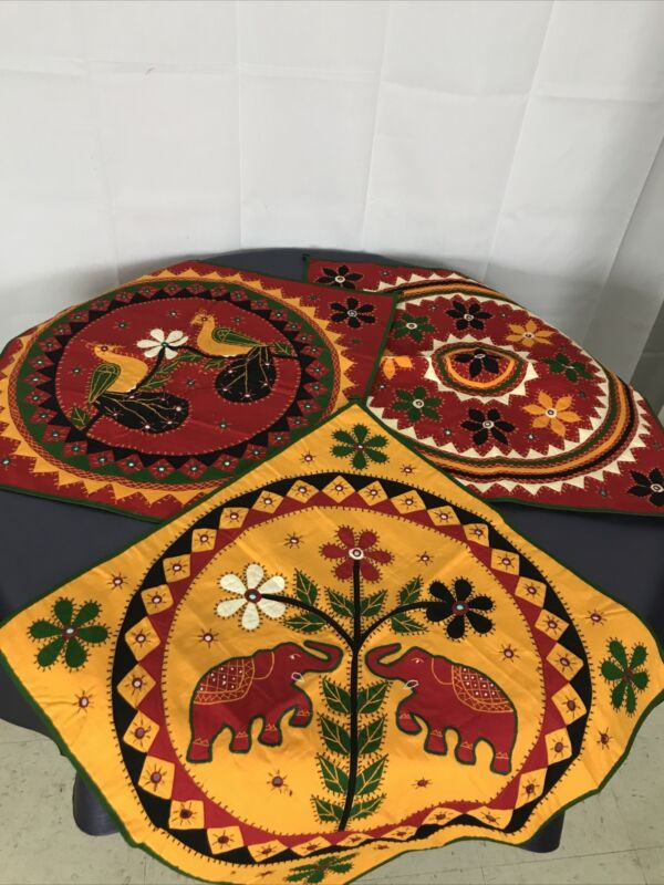 3 Mandala Style Design Handmade Appliqué Quilt Elephant Bright Wall Decoration