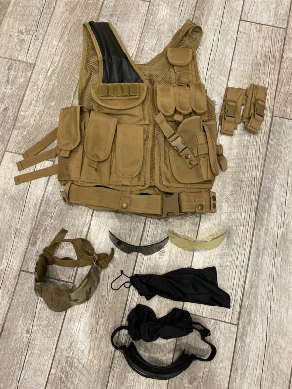 EUC Airsoft Protective Gear - Vest Goggles Wire Mesh Face Mask Covering