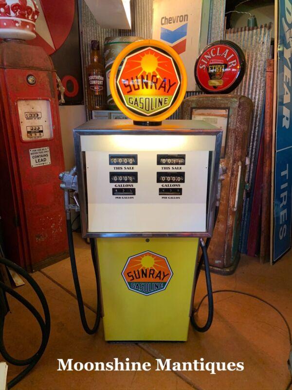 RESTORED 1960's SUNRAY Gasoline AO Smith Dual Gas Pump - Mancave / Garage Decor