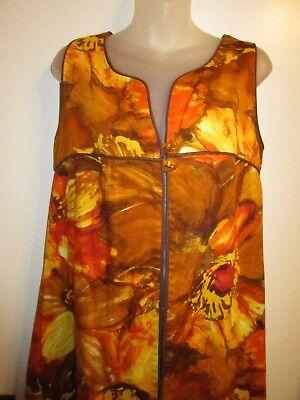 70s Costume Mod GoGo Dress Wrap Cover Up Large Bright Orange Floral Hippie CHIC (Gogo Dress Costume)