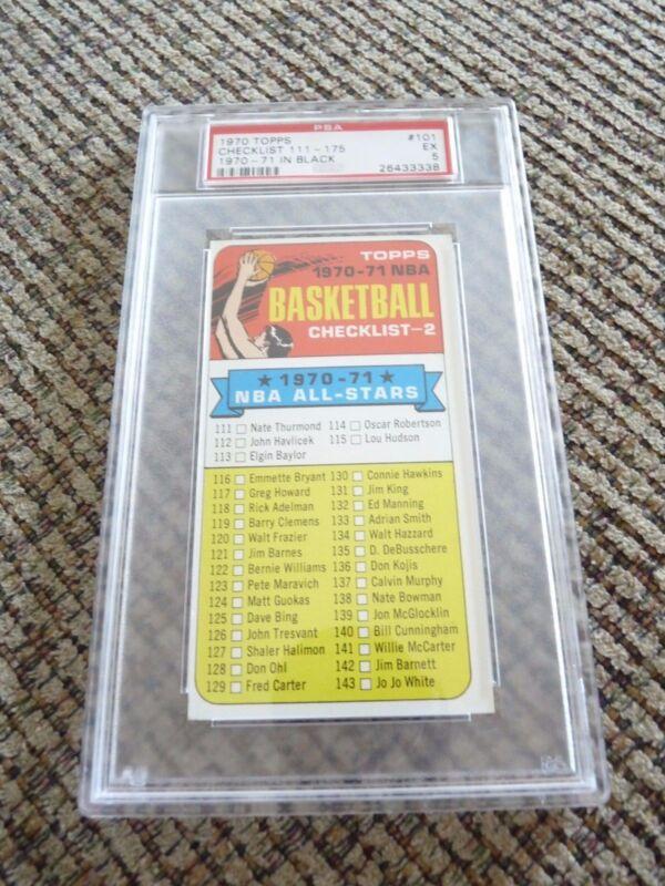Checklist  1970 Topps Tall Boy #101 Basketball Card PSA Graded Slabbed EX 5