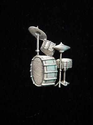 Jj  Jonette Jewelry Silver Pewter Drum Set Tac Pin