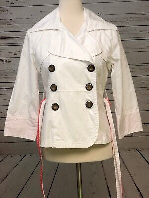 Charlotte Russe Women's Lightweight White Belted Pleated Blazer  Small (White Lightweight Belted Jacket)