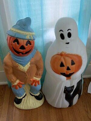 "Vintage Empire Halloween 34"" Blow Mold Ghost Black Cat Jack O Lantern Scarecrow"