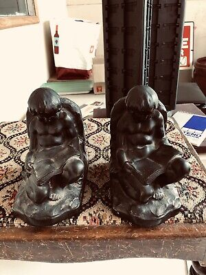 Plaster 2 Boy Bookends 12lbs Reading